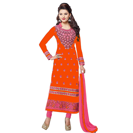 Orange Colored Party Wear Embroidered Work Georgette Salwar Suit