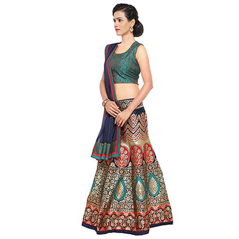 Beautiful Blue Taffeta Jacquard Lehenga Choli