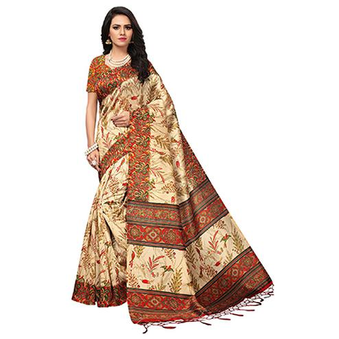 Beige - Red Colored Printed Art Silk Saree