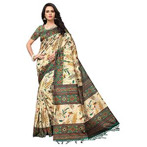 Beige - Green Colored Printed Art Silk Saree
