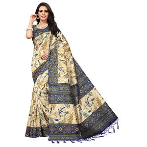 Beige - Blue Colored Printed Art Silk Saree