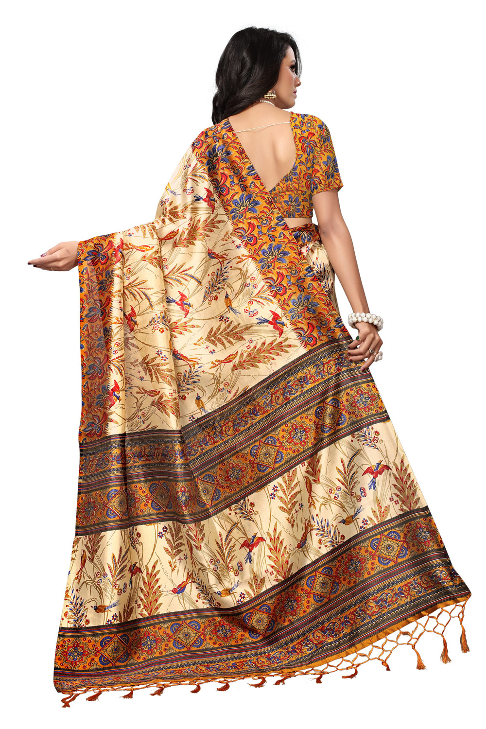 Beige - Yellow Colored Printed Art Silk Saree
