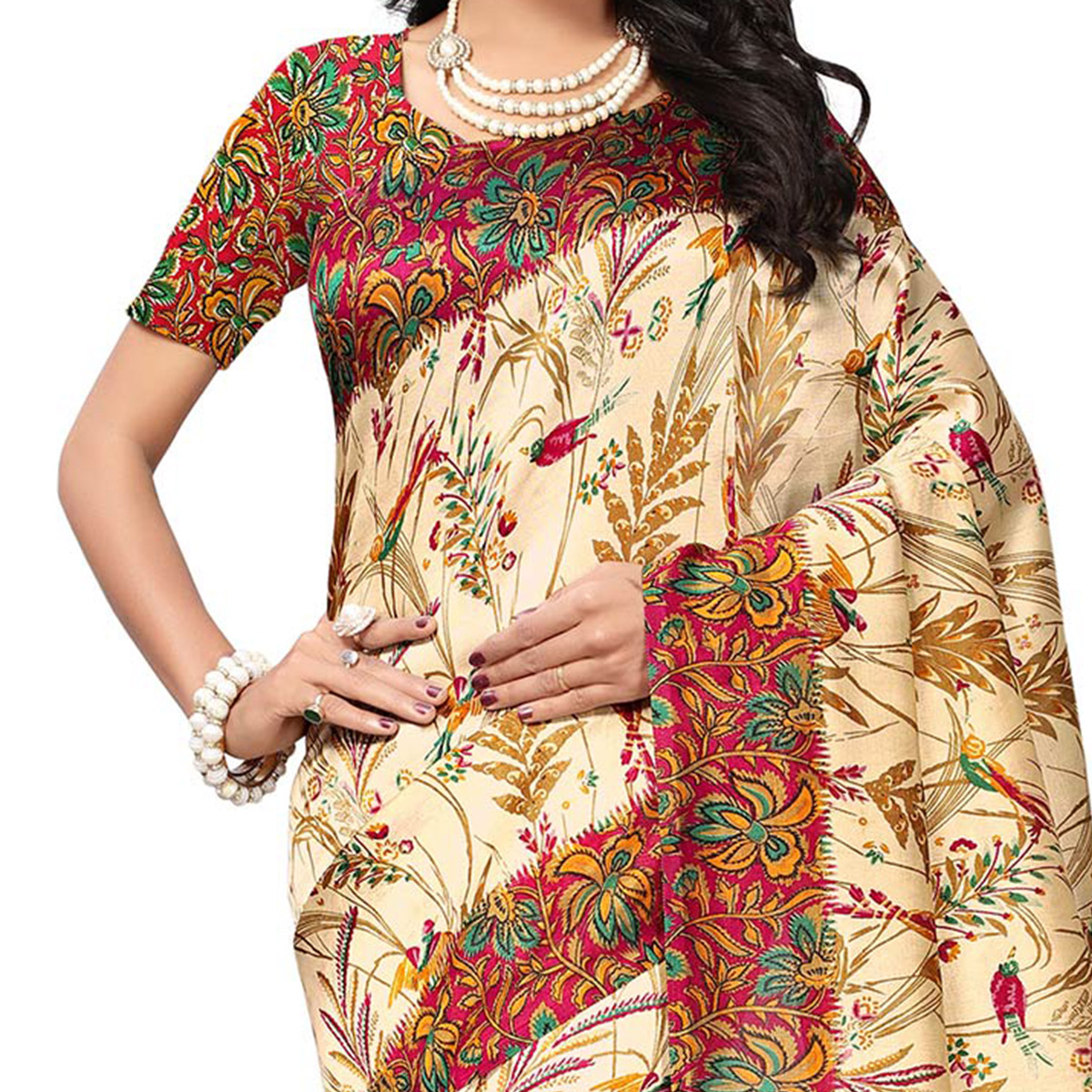 Beige - Maroon Colored Printed Art Silk Saree