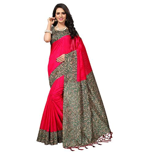Adorable Pink Colored Printed  Mysore Art silk Saree