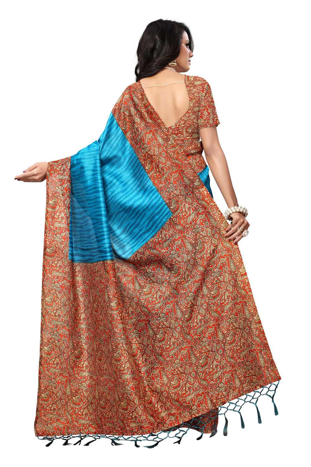 Attractive Blue Colored Printed  Mysore Art silk Saree