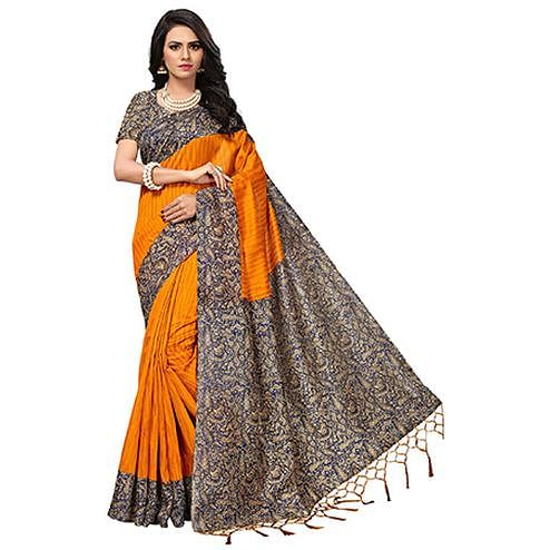 Beautiful Orange Colored Printed  Mysore Art silk Saree