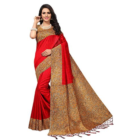 Classy Red Colored Printed  Mysore Art silk Saree