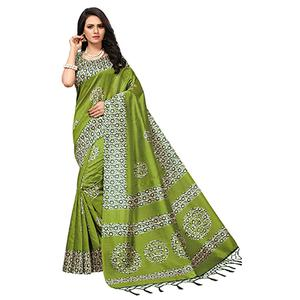 Lovely Green Colored Printed  Mysore Art silk Saree