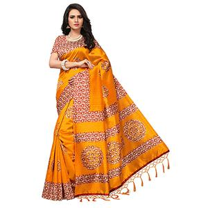 Pretty Orange Colored Printed  Mysore Art silk Saree