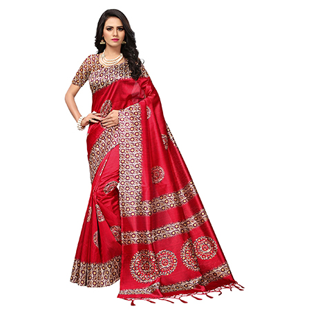 Charming Red Colored Printed  Mysore Art silk Saree