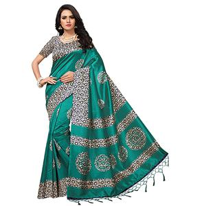 Elegant Rama Green Colored Printed  Mysore Art silk Saree