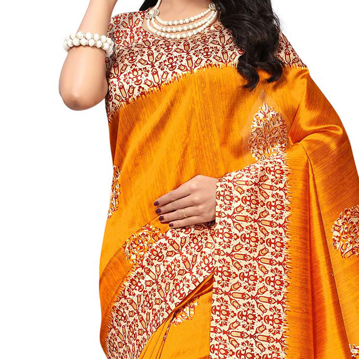 Ethnic Orange Colored Printed  Mysore Art silk Saree