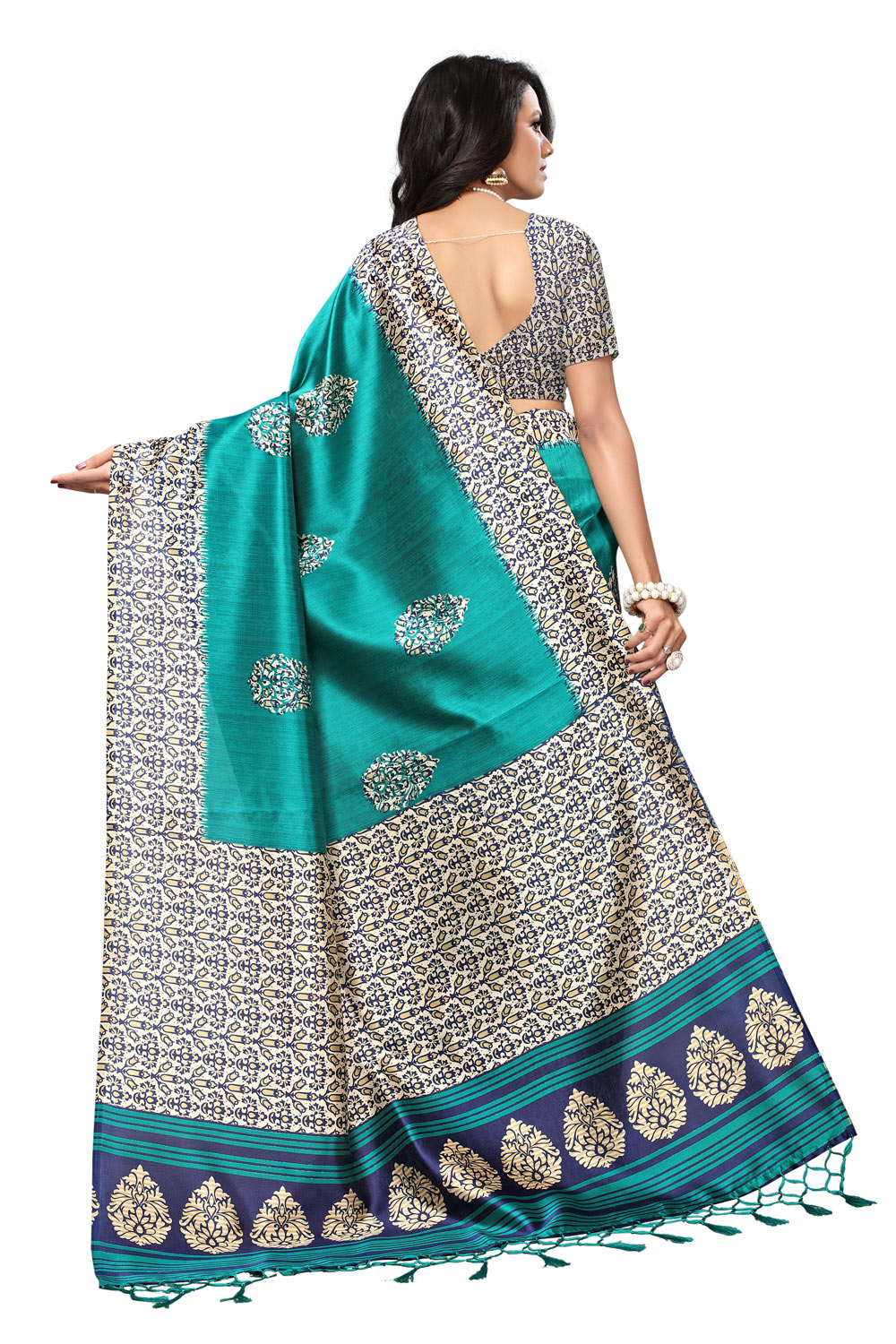 Ideal Rama Green Colored Printed  Mysore Art silk Saree