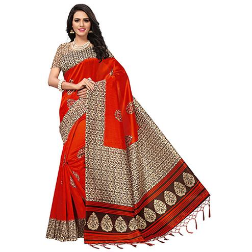 Impressive Red Colored Printed  Mysore Art silk Saree