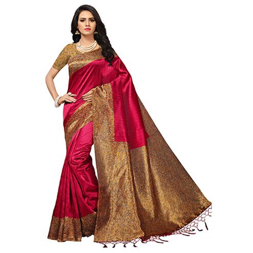 Trendy Pink-Mustard Colored Printed Banglori Silk Saree