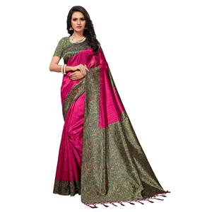 Classy Pink-Green Colored Printed Banglori Silk Saree