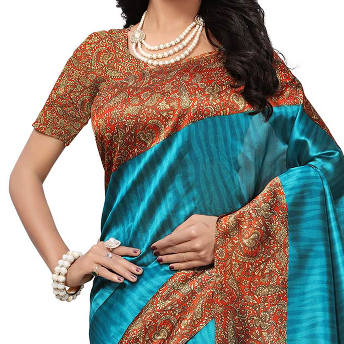 Lovely Blue Colored Printed Banglori Silk Saree