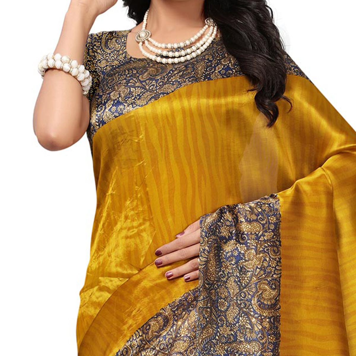 Adorable Golden Colored Printed Banglori Silk Saree