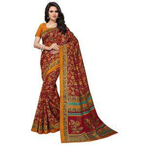 Pretty Red Colored Printed Banglori Silk Saree