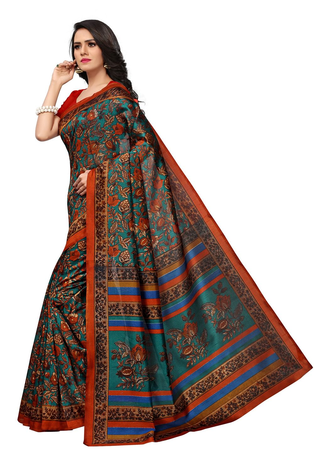 Elegant Green-Brown Colored Printed Banglori Silk Saree