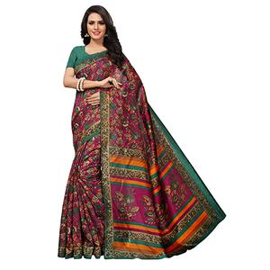 Ideal Pink Colored Printed Banglori Silk Saree