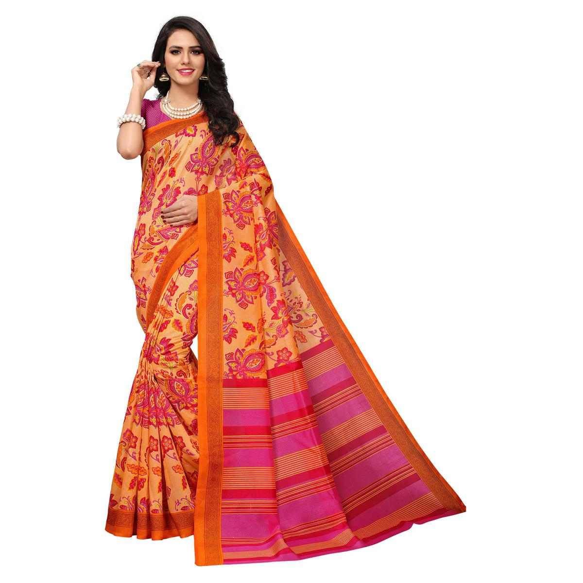 Impressive Orange Colored Floral Printed Banglori Silk Saree