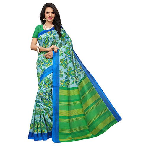 Glowing Blue-Green Colored Floral Printed Banglori Silk Saree