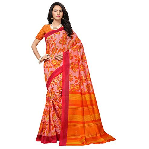 Attractive Peach-Orange Colored Floral Printed Banglori Silk Saree