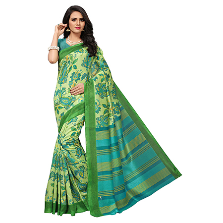 Lovely Pista Green Colored Floral Printed Banglori Silk Saree