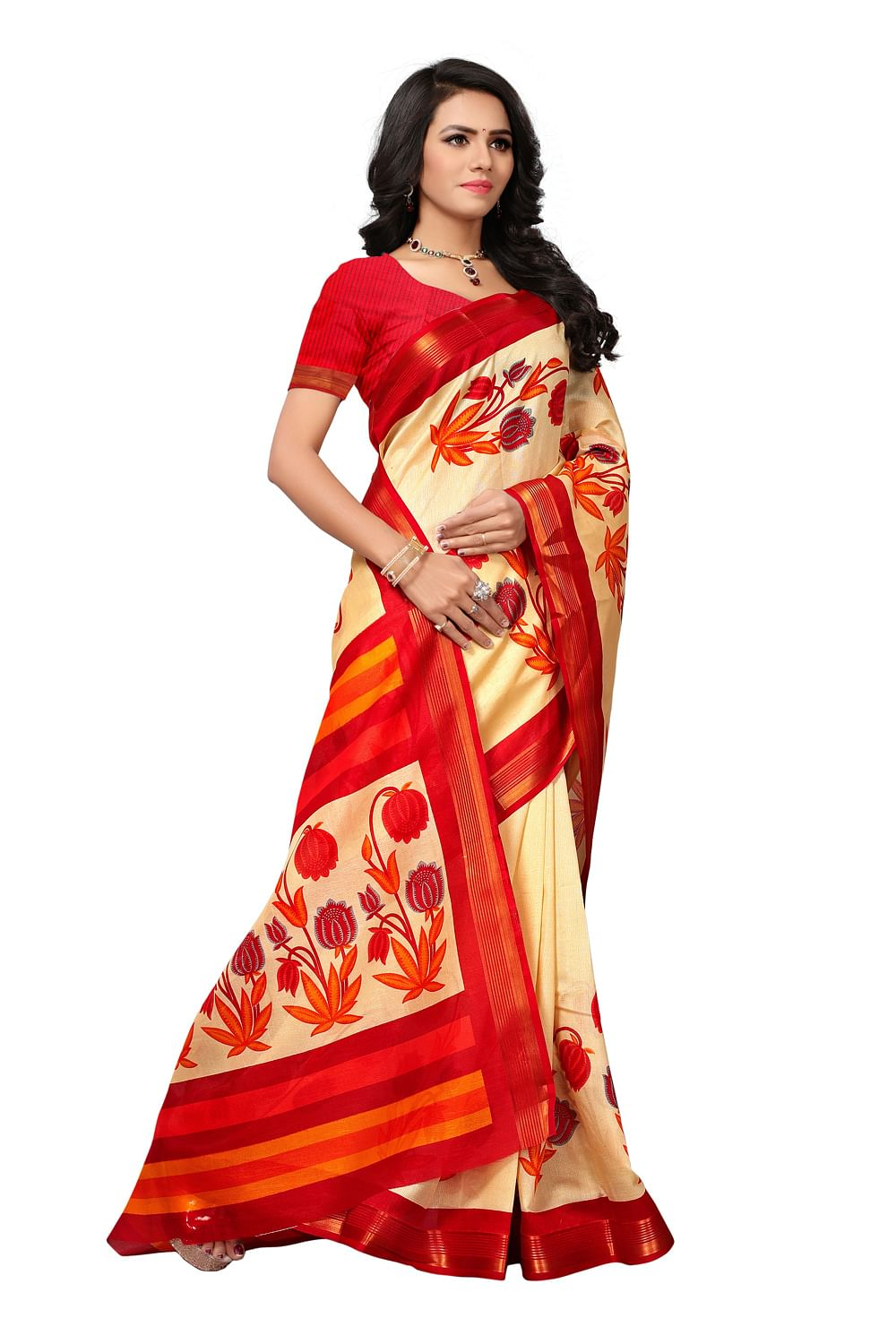 Lovely Beige - Red Colored Printed Mysore Art Silk Saree