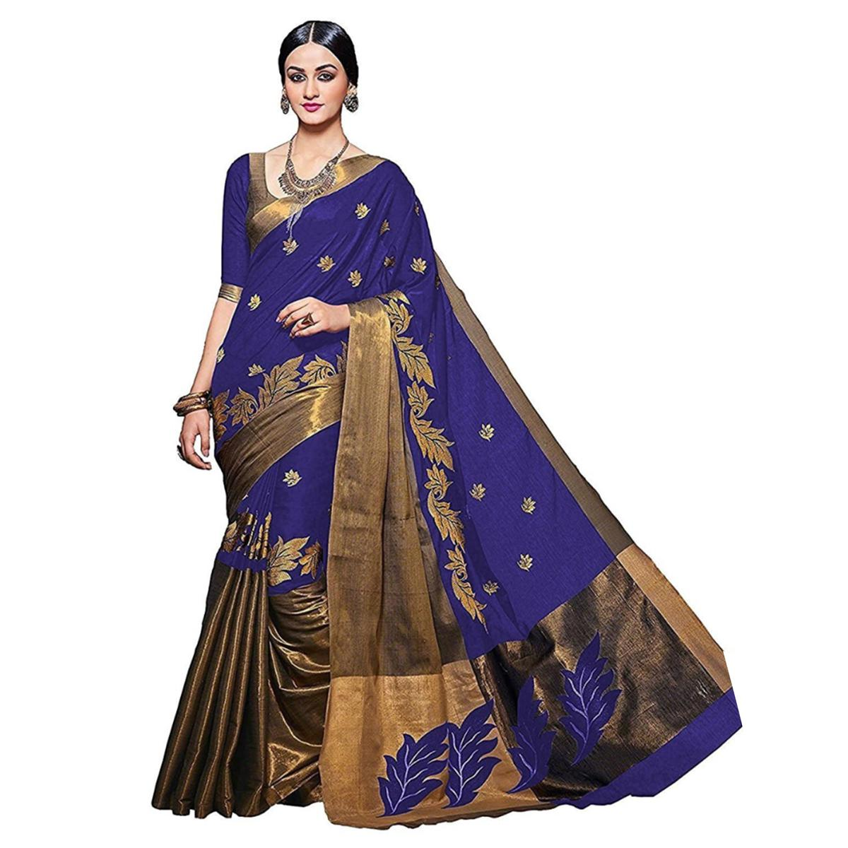 Attractive Navy Blue Colored Woven Work Festive Wear Cotton Saree