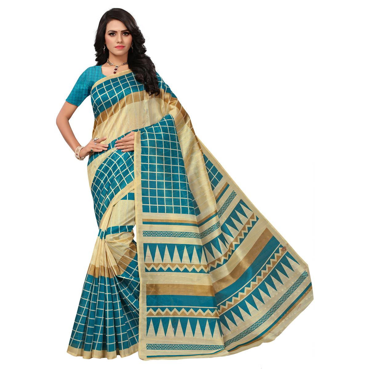 Awesome Beige-Turquoise Blue Colored Printed Bhagalpuri Silk Saree