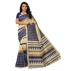 Snazzy Beige-Navy Blue Colored Printed Bhagalpuri Silk Saree