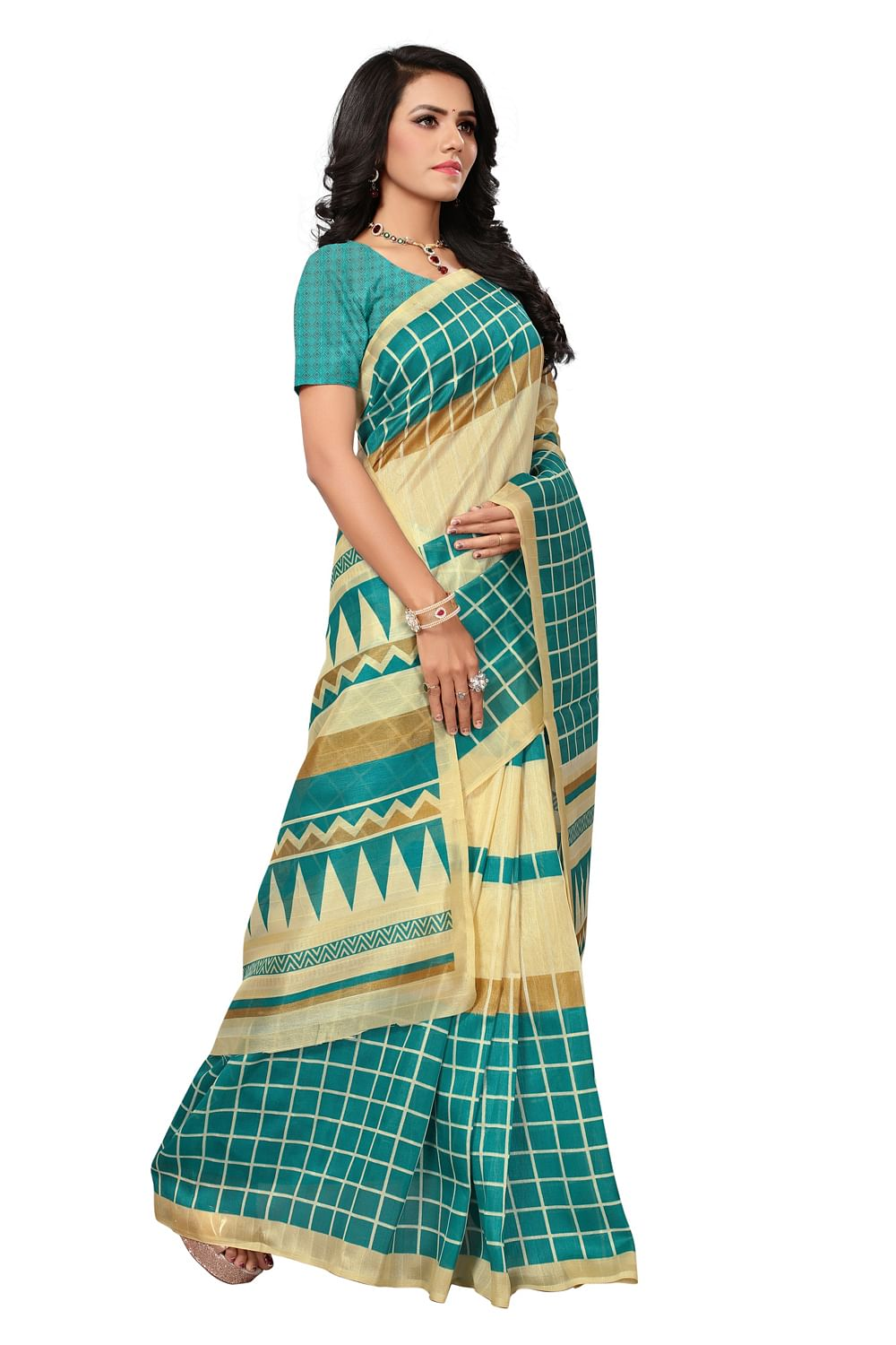 Deserving Beige-Turquoise Colored Printed Bhagalpuri Silk Saree