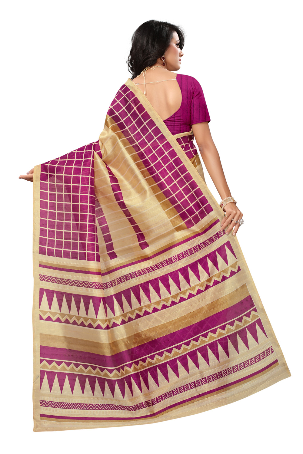 Preferable Beige-Magenta Colored Printed Bhagalpuri Silk Saree