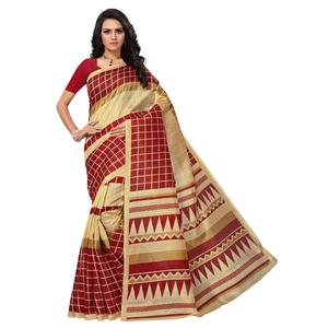Majesty Beige-Maroon Colored Printed Bhagalpuri Silk Saree