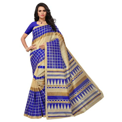 Charming Beige-Blue Colored Printed Bhagalpuri Silk Saree