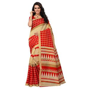Demanding Beige-Red Colored Printed Bhagalpuri Silk Saree