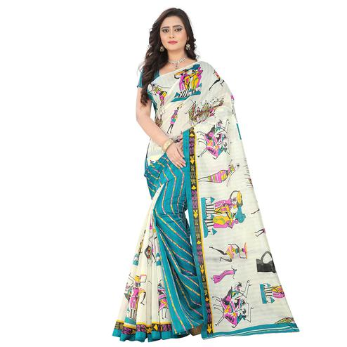Cool White-Firozi Blue Colored Casual Printed Bhagalpuri Silk Saree