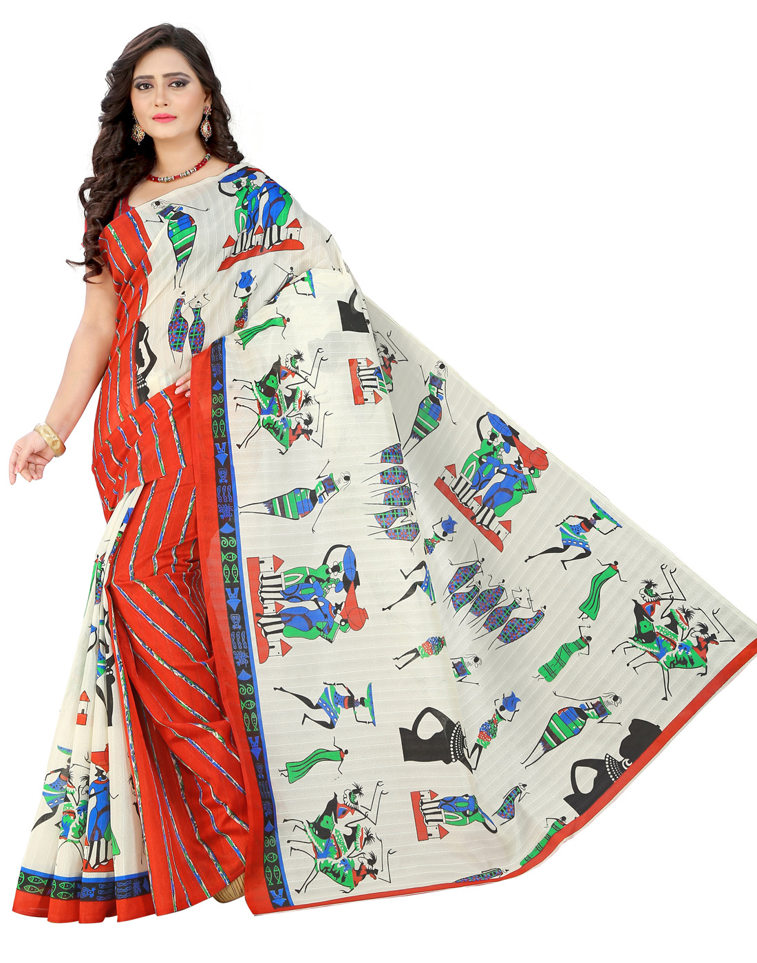 Lovely White-Red Colored Casual Printed Bhagalpuri Silk Saree