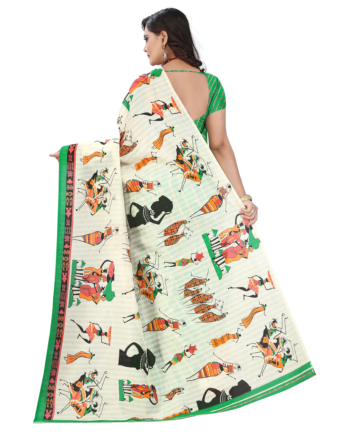 Pretty White-Green Colored Casual Printed Bhagalpuri Silk Saree