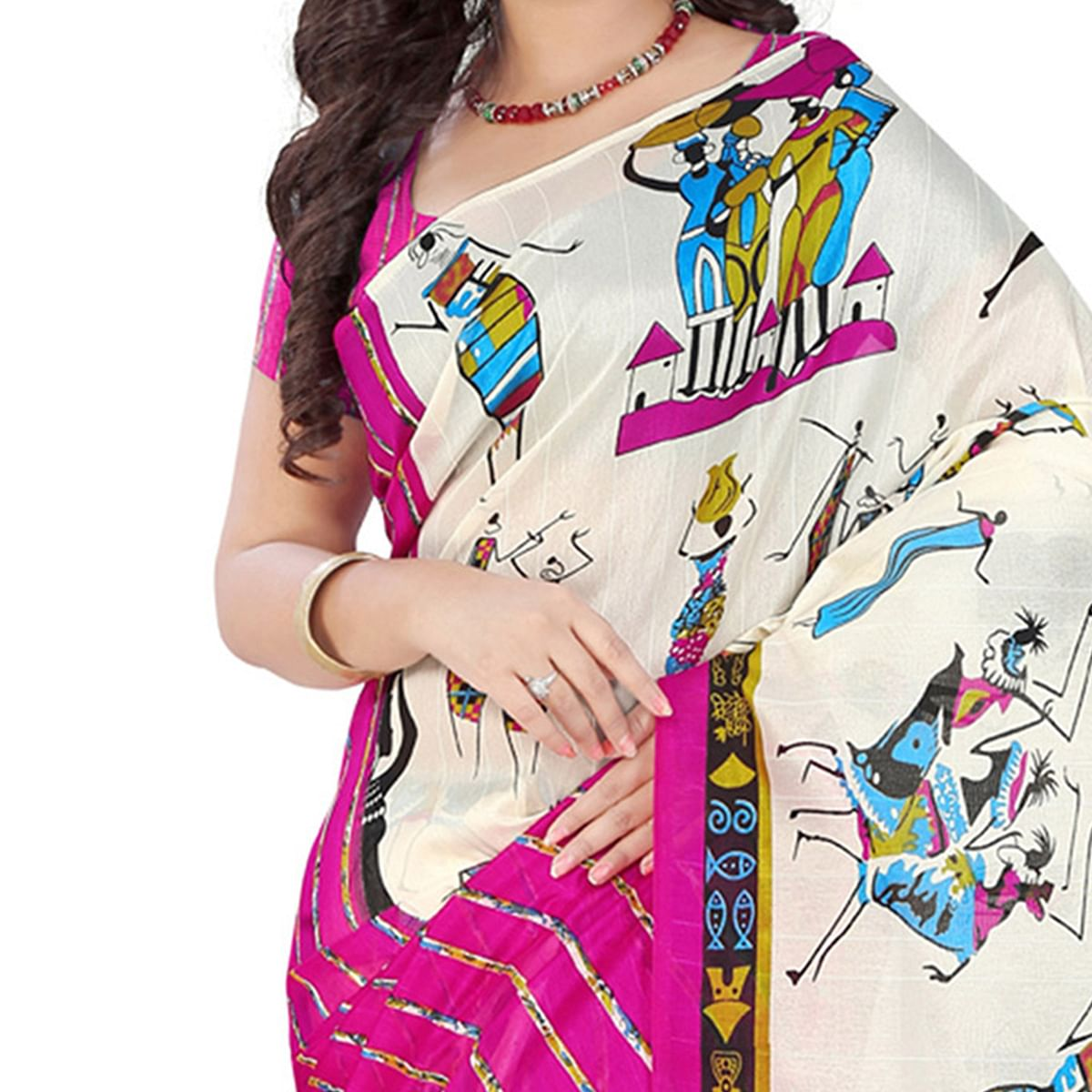 Trendy White-Pink Colored Casual Printed Bhagalpuri Silk Saree