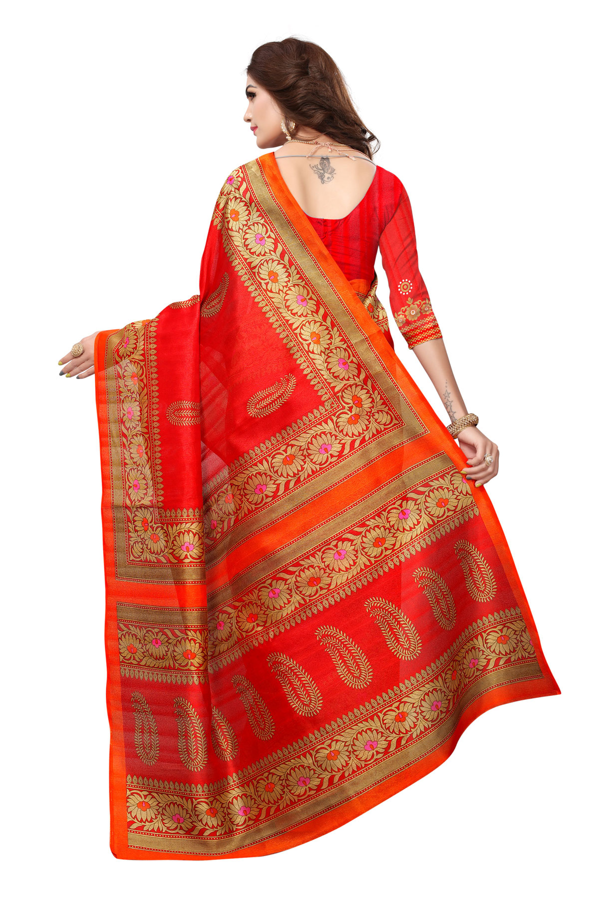 Red Colored Casual Printed Bhagalpuri Silk Saree