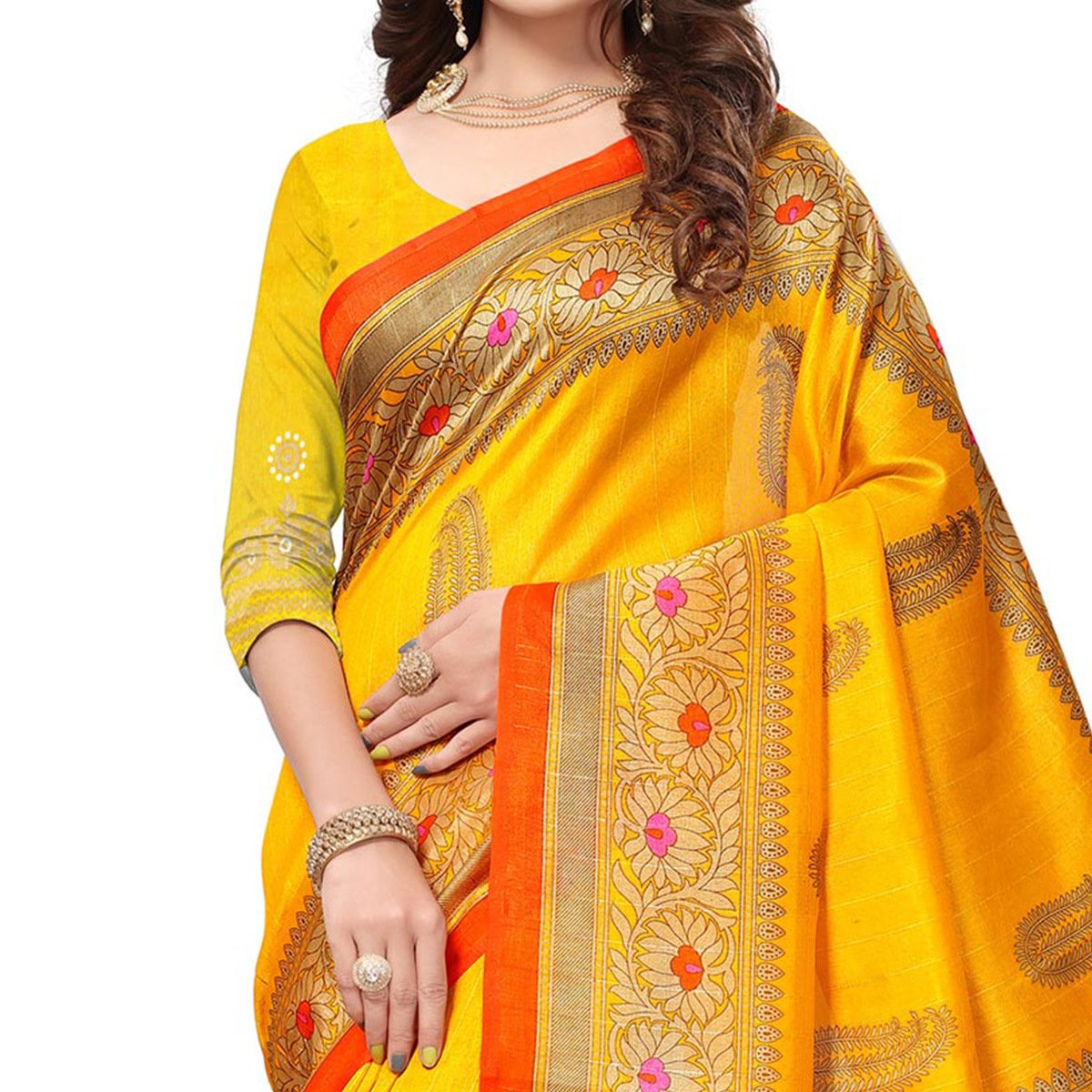 Yellow Colored Casual Printed Bhagalpuri Silk Saree