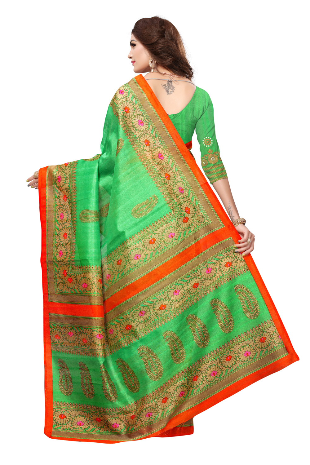 Green Colored Casual Printed Bhagalpuri Silk Saree