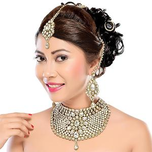Gold Finish Wedding Wear Austrion Stone Bridal Necklace Set with Maang Tikka
