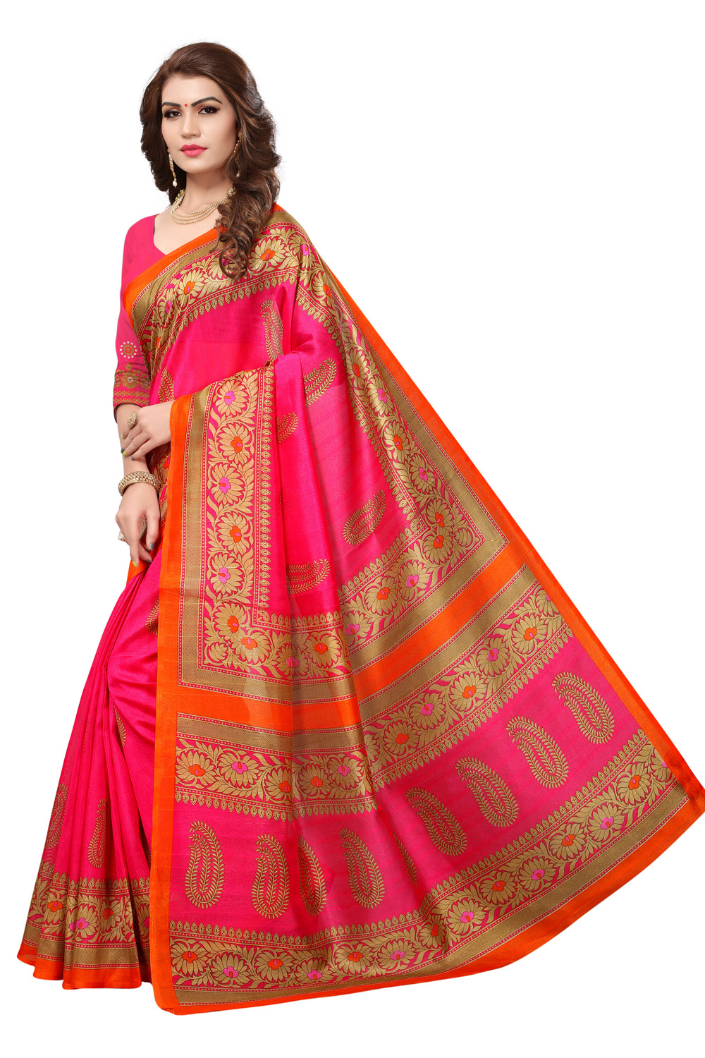 Deep Pink Colored Casual Printed Bhagalpuri Silk Saree