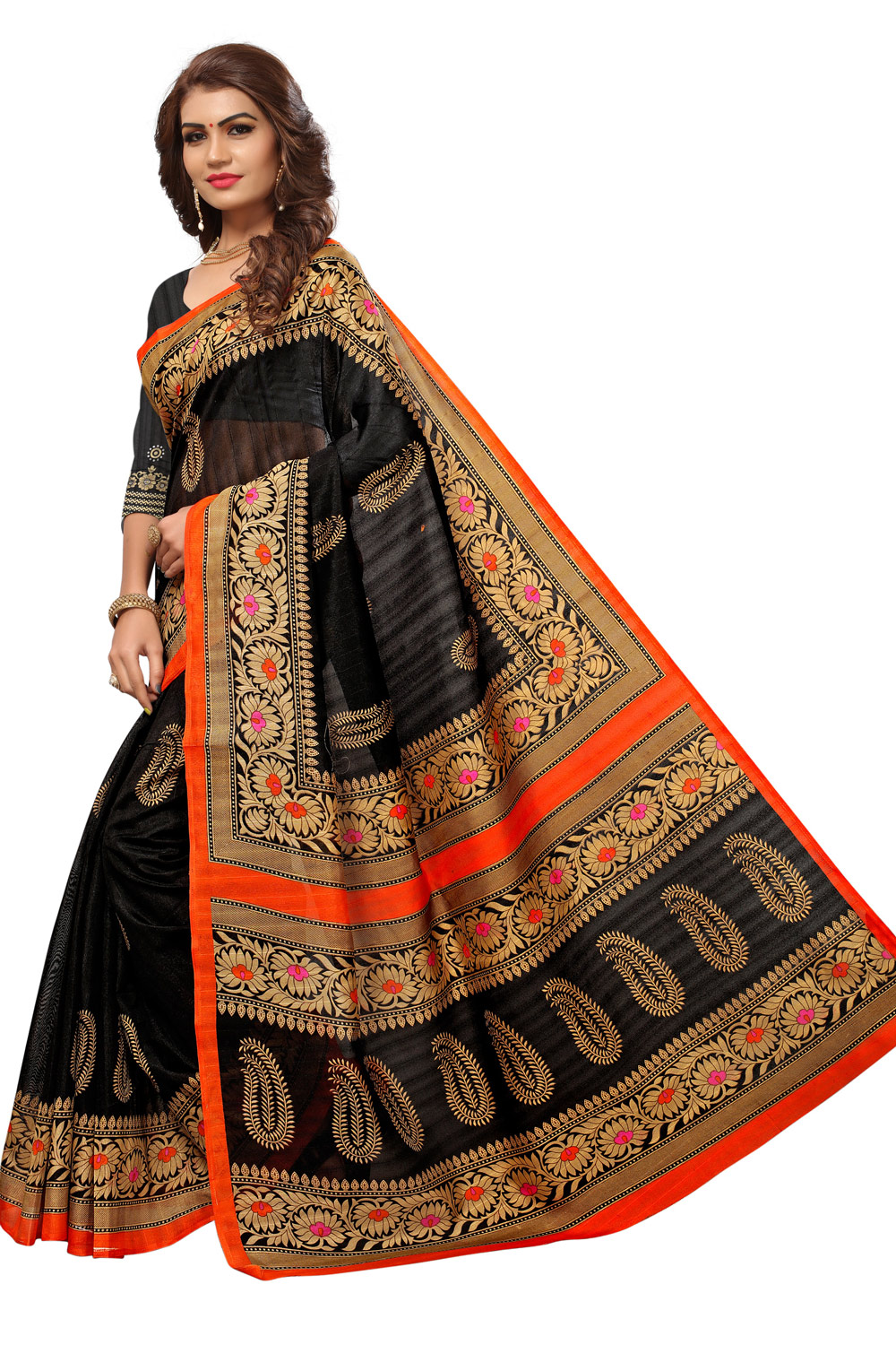Black Colored Casual Printed Bhagalpuri Silk Saree