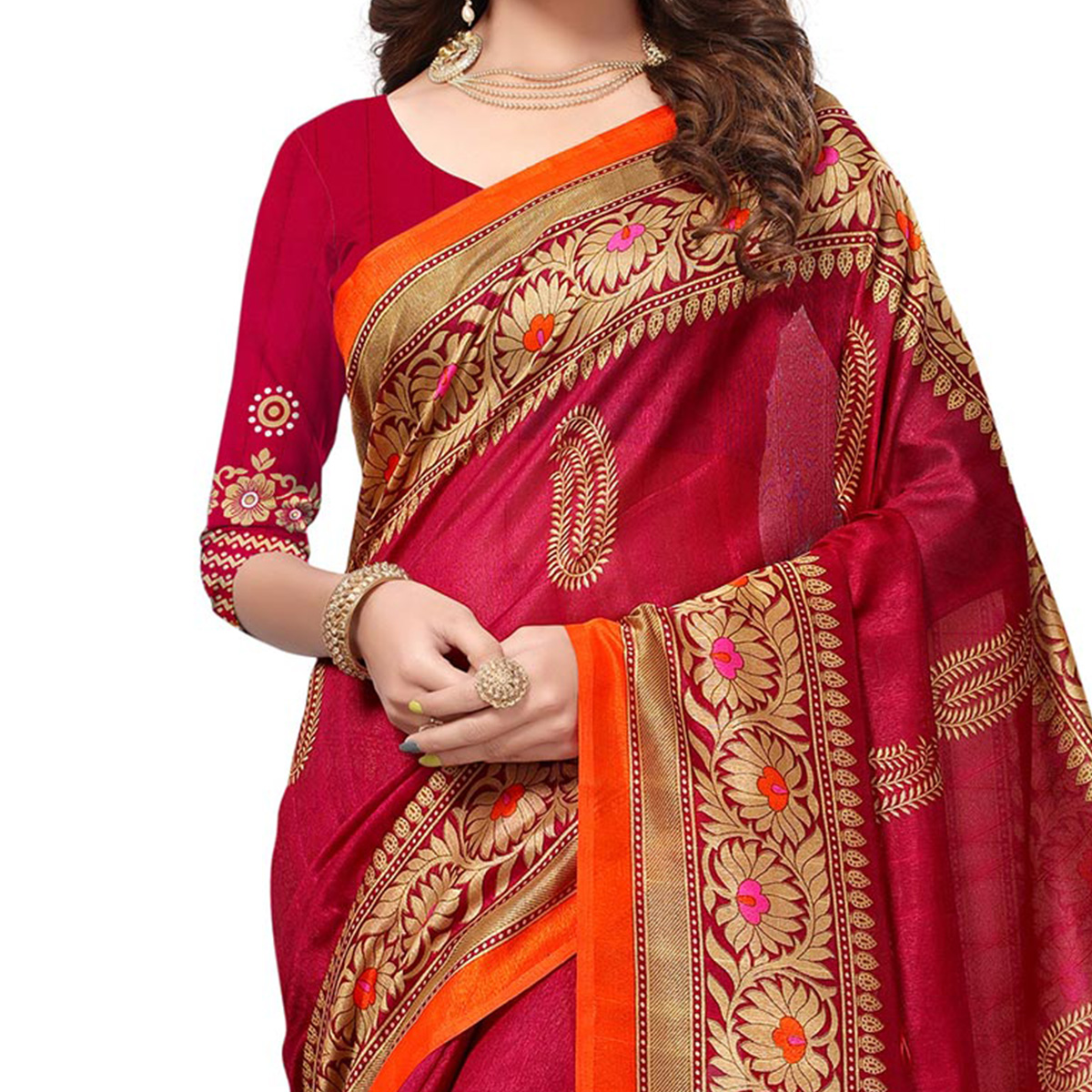 Pink Colored Casual Printed Bhagalpuri Silk Saree
