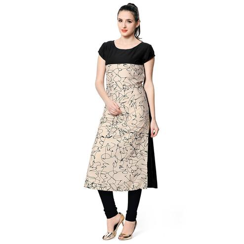 Black-Beige Colored Casual Wear Digital Printed Poly Rayon Kurti